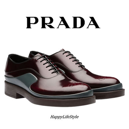 15-16AW★Brushed Calf Leather シューズ Cordovan 1★PRADA