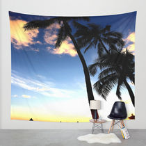 Society6◆タペストリー◆Hawaii Sunset Palm Tree Sea Beach