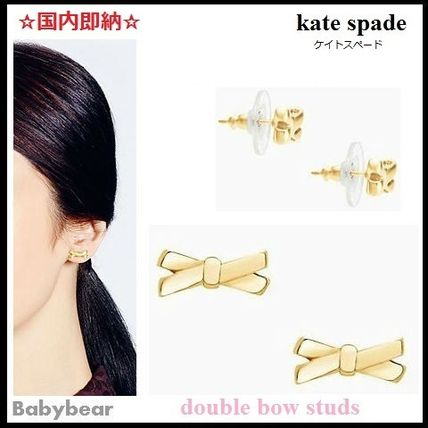 【kate spade】国内即納☆ double bow studs リボンピアス Gold