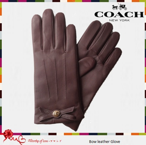 COACH 85929 Bow leather Glove かわいい3色