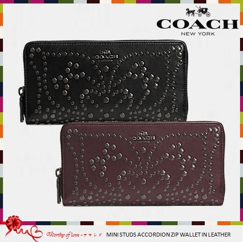 COACH 52328 MINI STUDS ACCORDION ZIP WALLET IN LEATHER