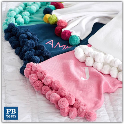 Pottery Barn Pompon organic blanket initials OK