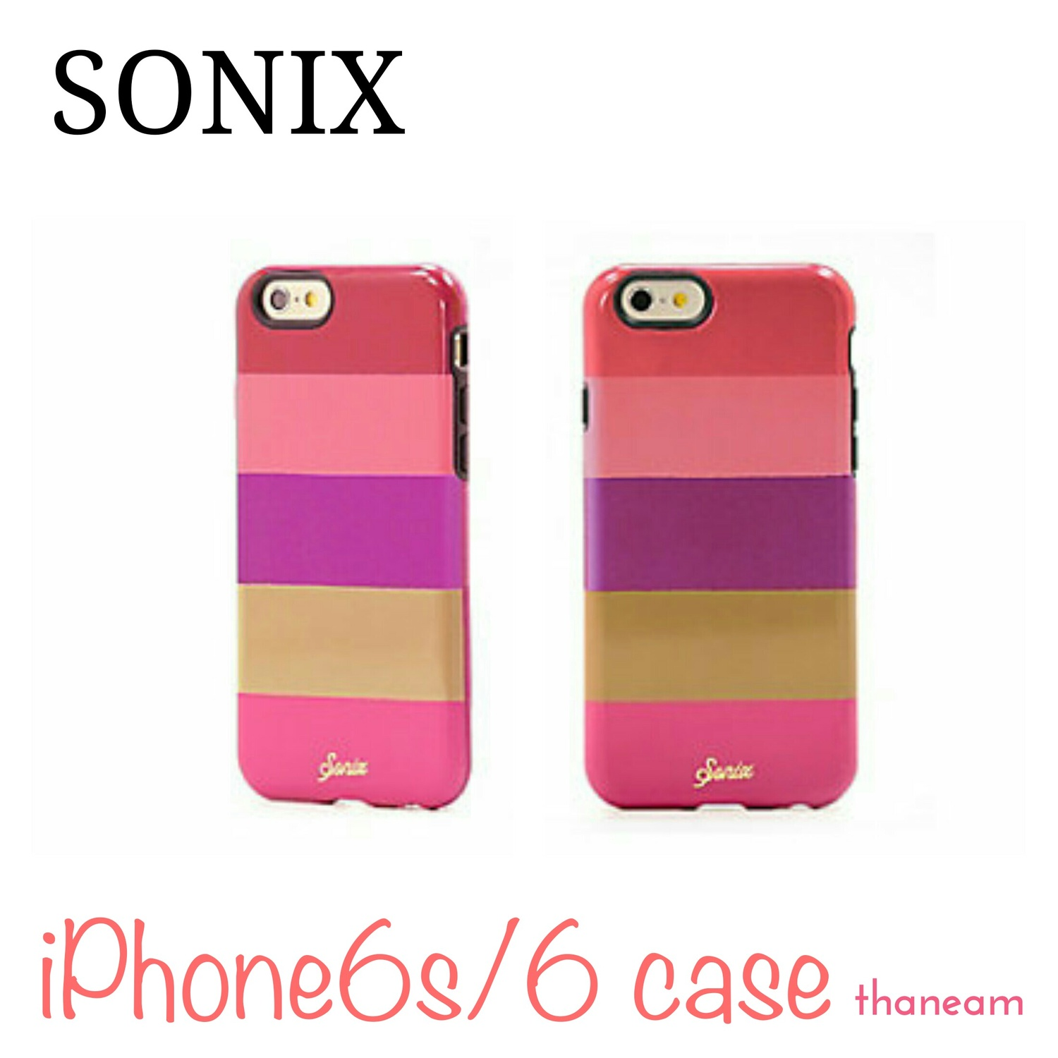 【Sonix】iPhone6s/6 ケースカバー FUCHSIA STRIPE