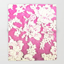 Society6◆ブランケット◆pink lace photograph of vintage lac