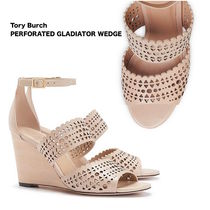 2015*Tory Burch*PERFORATED GLADIATOR WEDGE