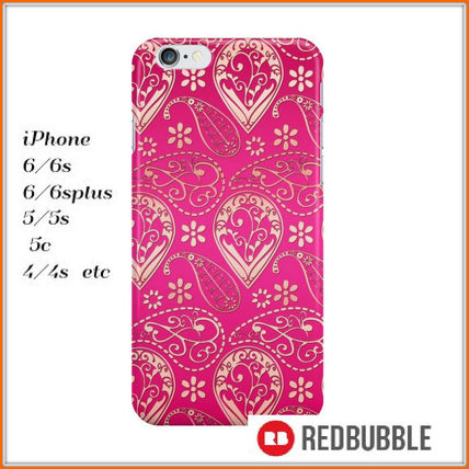【送料込み】 RED BUBBLE paisley pattern iPhoneケース