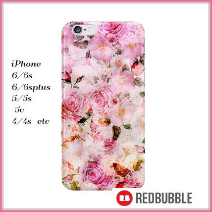 【送料込み】 RED BUBBLE pink watercolor iPhoneケース
