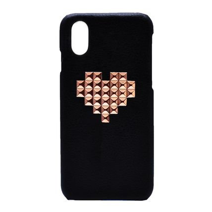 【enchanted.LA】HEART STUDDED LEATHER iPhone CASE PINK GOLD