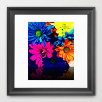 Society6◆額入りアートプリント◆Neon Daisies by Tyler Chane
