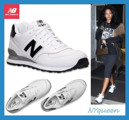 Rihanna New Balance 574 white premium leather