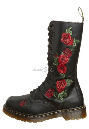 Dr.Martens VONDA rose embroidery 14 hole boots