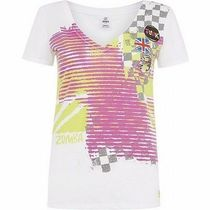 レア!☆ZUMBA・ズンバ☆Flag V Neck Graphic Tee WH