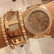 【SALE】MICHAEL KORS Rose Madison Glitz Grey Dial Watch
