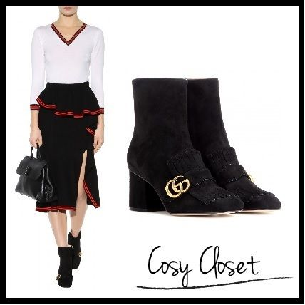GUCCI★Embellished suede ankle boots