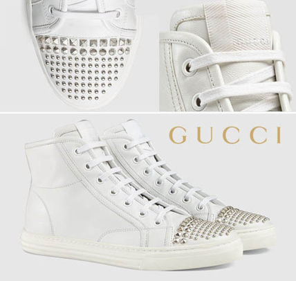 370875 GUCCI studded calf leather high top sneaker