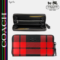 COACH★セール☆MOUNT PLAID ACCORDION ZIP WALLET IN LEATHER♪