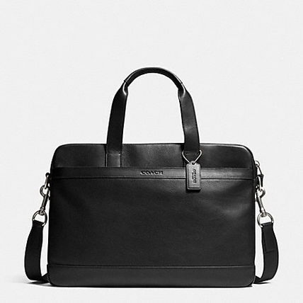 Leather COACH HUDSON business bag F71561 black