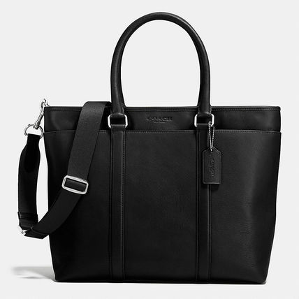 popular black COACH smooth leather business tote