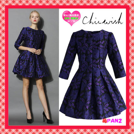 ☆Chicwish☆Midnight Glam Floral花柄ジャガードドレス