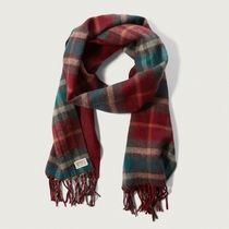 【国内即発送!】アバクロ PLAID FRINGE SCARF★RED PLAID