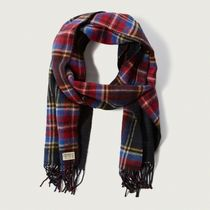 【国内即発送!】アバクロ PLAID FRINGE SCARF★NAVY PLAID