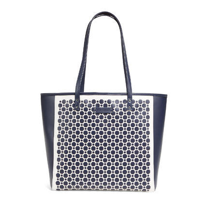 在庫有即発★Laser Cut Tote in Navy and White Geo