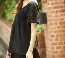 MUSE by RIMO-sale!Lace Gauze V-Neck Tunic Top