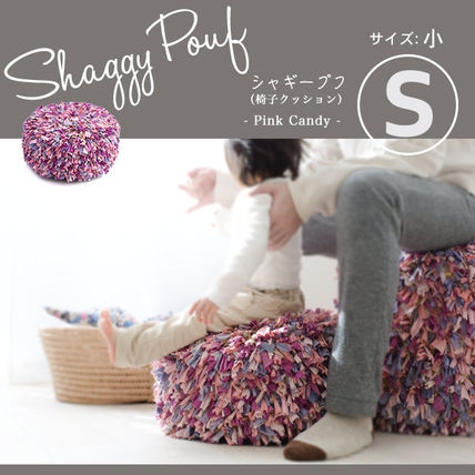 Pufu cushion Chair Shaggy Pouf S size pink series multimedia