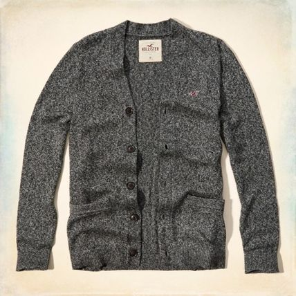 【国内即発送】ホリスター TEXTURED CARDIGAN SWEATER★GREY★M