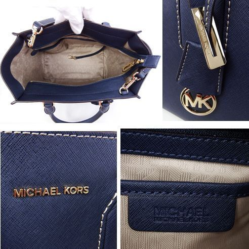 ☆Michael Kors☆ SELBY Stitched Leather 2wayトート M Navy♪