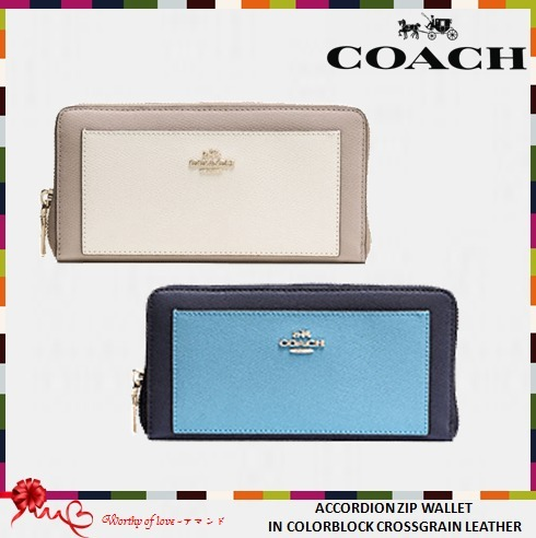 COACH 53838 ACCORDION ZIP IN COLORBLOCK CROSSGRAIN LEATHER