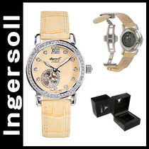 INGERSOLL(インガソール) アナログ腕時計 ingersoll Women's Freeport Auto Pale Yellow.Leather and Dial