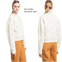 ACNE Bird Allover ivory /white spiral スパイラルスウェット