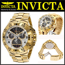 INVICTA(インヴィクタ) アナログ時計 INVICTA Excursion White Dial Black Subdials Gold Tone Watch