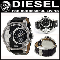 DIESEL Little Daddy Black and Grey Dial Black Leather Watch