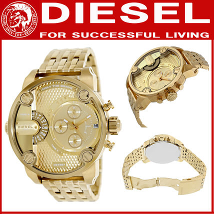 DIESEL☆ Little Daddy Chronograph Gold-tone Dial Steel Watch