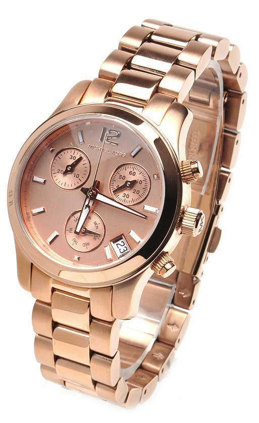Michael Kors Runway Rose Gold Tone Dial Chronograph Watch