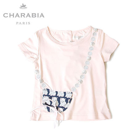≪Charabia≫ ネコ柄 ポシェット スパンコール ピンク Tシャツ