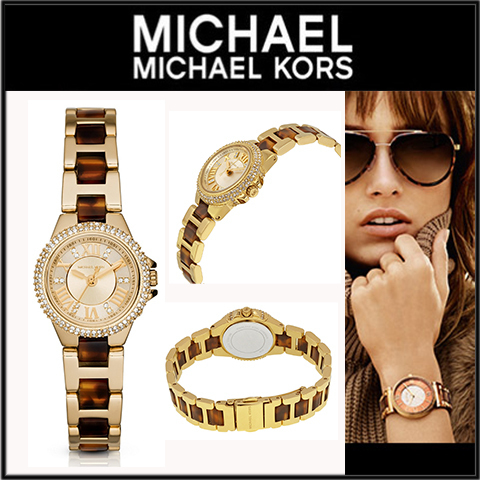 Michael Kors Petite Camille Gold Dial Tortoise-shell Acetate
