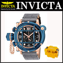 INVICTA(インヴィクタ) アナログ時計 【注目!】INVICTA Russian Diver Chrono Grey and Black Leather