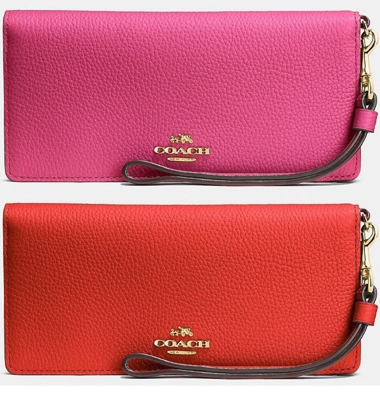 COACH★ストラップ付き☆SLIM WALLET IN COLORBLOCK LEATHER♪
