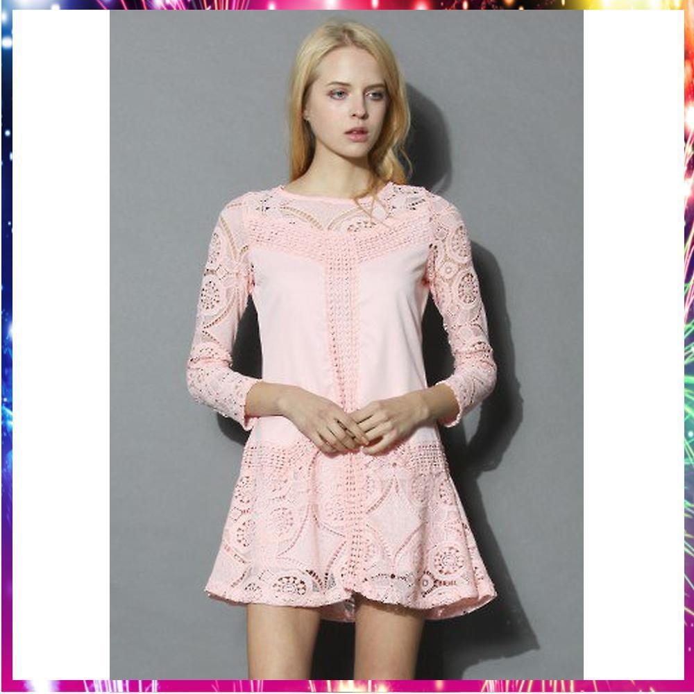 【送料・関税込・国内発送】Pinky Mood Eyelet Crochet Dress