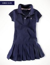 新作♪ 国内発送 3色 PLEATED COTTON POLO DRESS girls 2~6X