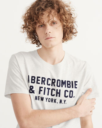 Abercrombie & Fitch Tシャツ・カットソー アバクロ メンズTシャツAPPLIQUE GRAPHIC TEE グレー(5)