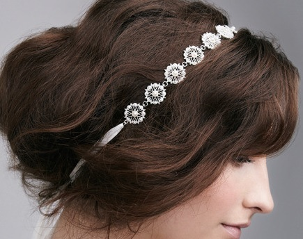 Elizabeth Bower Lace Band Pearl & Crystal Mix Hairpiece