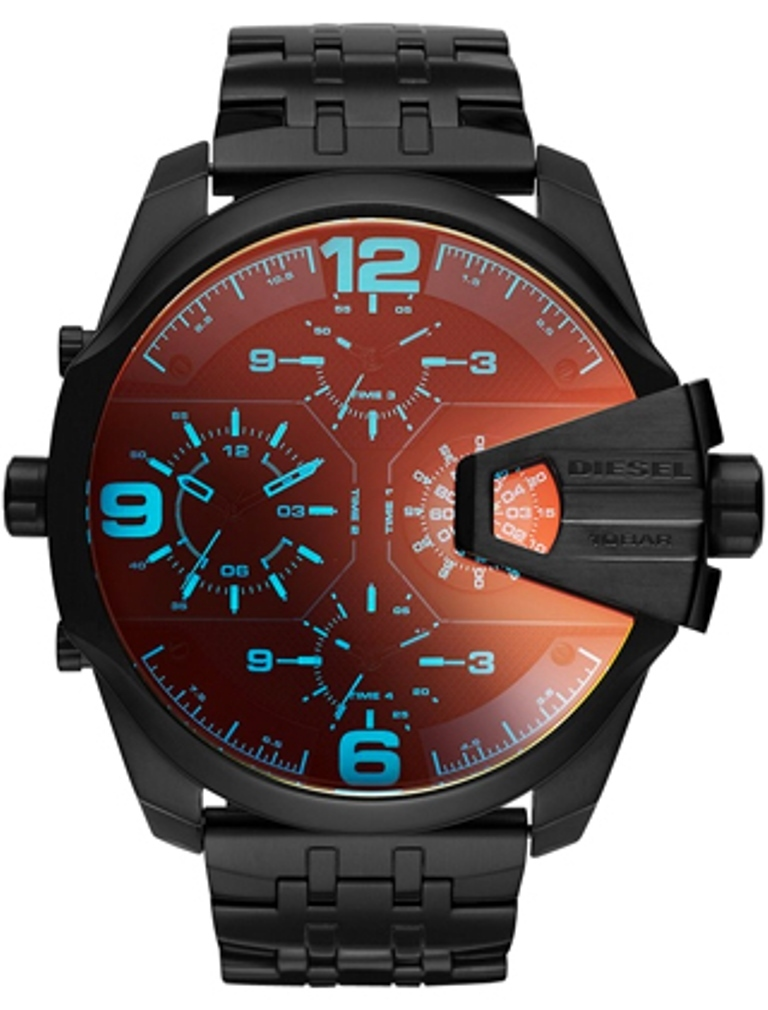 【大人気】 ☆DIESEL☆ Uber Chief Black Dial Dual Time Watch
