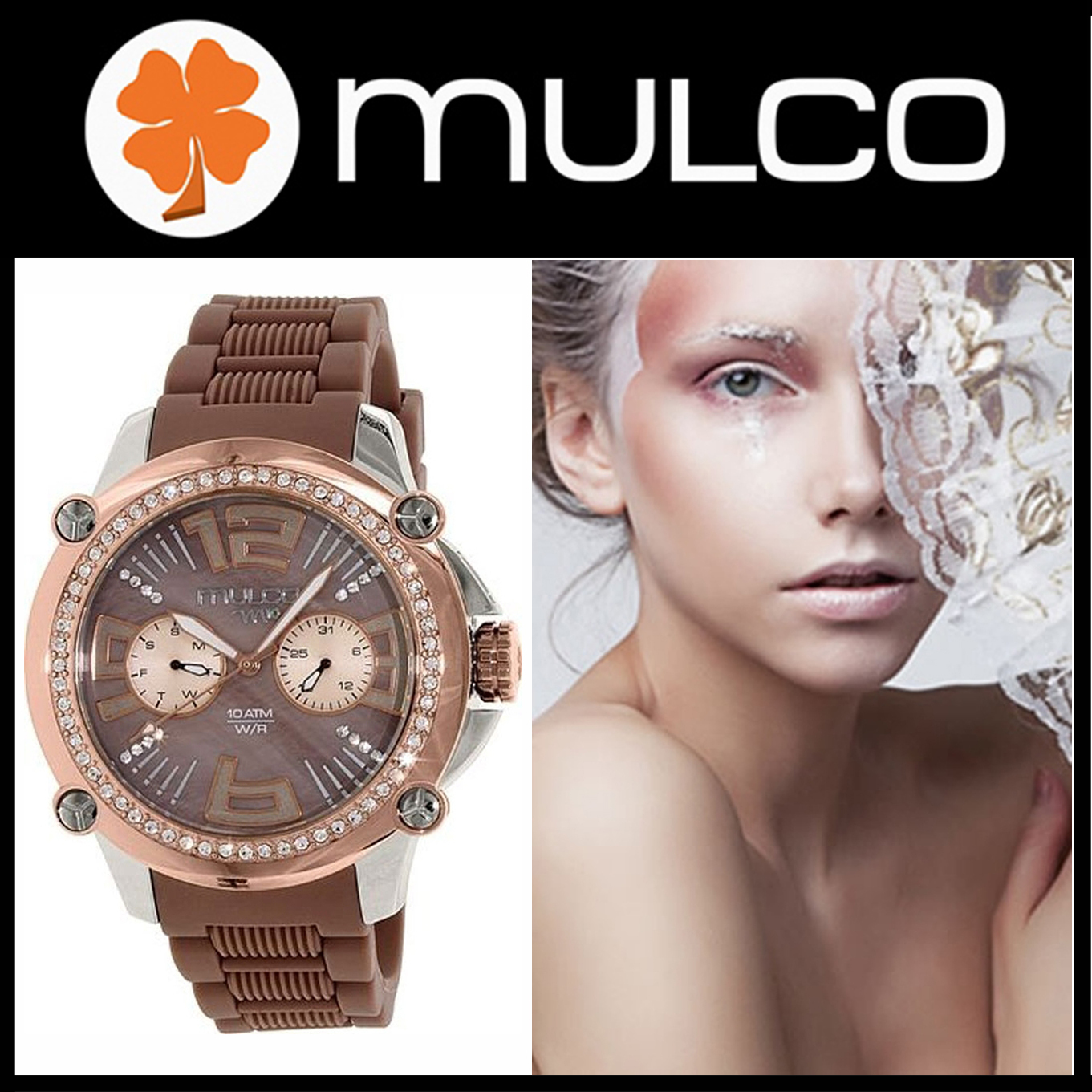 【日本未入荷】 MULCO Brown Rubber Swiss Multifunction Watch