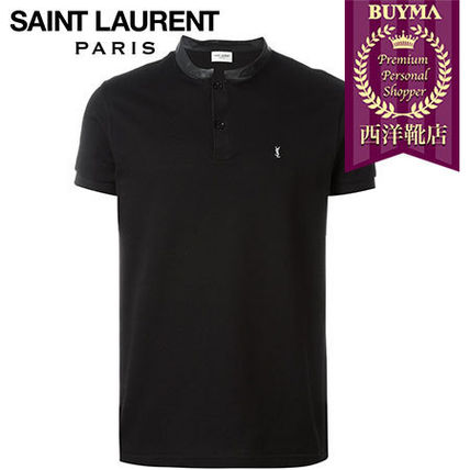 SAINT LAURENT┃16SS┃LEATHER COLLAR POLO SHIRT