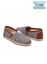 TOMS  NAVY/RED STRIPE WOVEN MEN'S CLASSICS エスパドリーユ