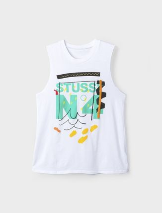 STUSSY Tシャツ・カットソー ステューシー 2941310 WOMEN NO. 4 DOODLE MUSCLE TEE WHITE
